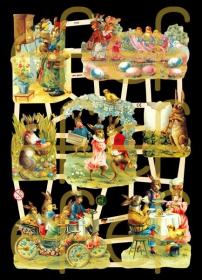 Glanzbilder mit Silber-Glimmer - Osterbogen mit vielen liebevollen Osterhasen