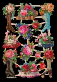 Glanzbilder mit Silber-Glimmer - 13 Bilder mit Rosen u.a. in Stiefeln