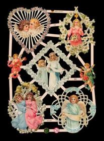 Glanzbilder mit Silber-Glimmer - 7 Engel, u.a. mit Blumenkränzen