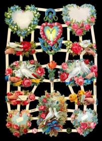 Glanzbilder mit Silber-Glimmer - Mit 4 Blumenherzen