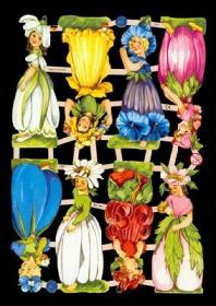 Glanzbilder mit Silber-Glimmer - 8 Blumenelfen