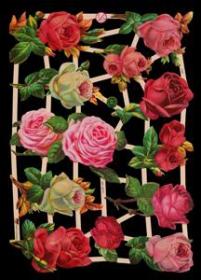 Glanzbilder mit Silber-Glimmer - 12 Rosen