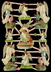 Glanzbilder mit Silber-Glimmer - 9 Schutzengel mit Kinder