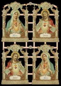 Glanzbilder mit Gold-Glimmer - 4 Bilder mit Maria uns Jesus