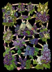 Glanzbilder mit Silber-Glimmer - lila Blumen