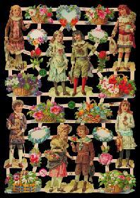 Glanzbilder mit Glimmer Kinder/Blumen