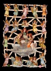Glanzbilder mit Silber-Glimmer - 17 Engelbilder u.a. auf einer Wolke