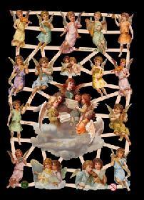 Glanzbilder - 17 Engelbilder u.a. auf einer Wolke