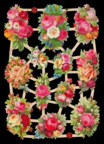 Glanzbilder mit Silber-Glimmer - 12 Rosensträuße