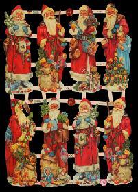 Glanzbilder - 8 Weihnachtsmänner