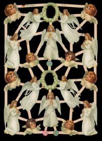 Glanzbilder mit Gold-Glimmer - weiße Engel und Engelköpfe