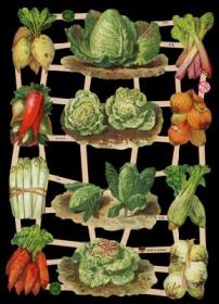 Glanzbilder mit Silber-Glimmer - Karotten, Salat, Spargel, Zwiebeln, Rhabarber