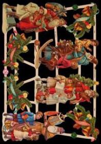 Glanzbilder mit Gold-Glimmer - 4 Weihnachtsmänner mit Kindern