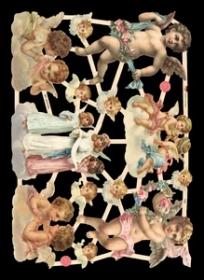Glanzbilder mit Silber-Glimmer - 6 mittelgroße Engel und 6 Engelköpfe