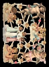 Glanzbilder mit Glimmer singende Engel