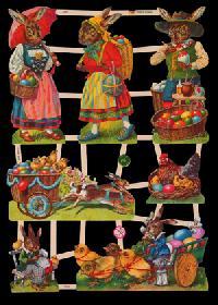 Glanzbilder mit Glimmer lustige Osterhasen - silber