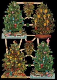 Glanzbilder mit Gold-Glimmer - 4 größere und 2 Weihnachtsbäume