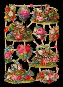 Glanzbilder mit Silber-Glimmer - 11 Blumenbilder u.a. mit Tieren