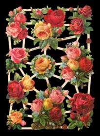Glanzbilder mit Silber-Glimmer - 10 Rosensträuße