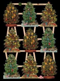 Glanzbilder mit Gold-Glimmer - 9 Weihnachtsbäume
