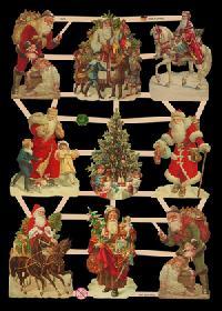 Glanzbilder mit Glimmer Weihnachtsm?nner Glitter - silber