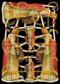 Glanzbilder mit Gold-Glimmer - 3 große und 3 kleine Motive mit dem Bischof Nikolaus