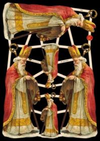 Glanzbilder mit Silber-Glimmer - 3 große und 3 kleine Motive mit dem Bischof Nikolaus