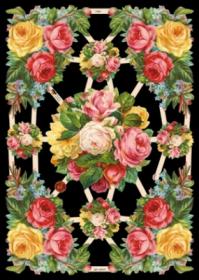 Glanzbilder mit Silber-Glimmer - 9 Motive mit Rosen.