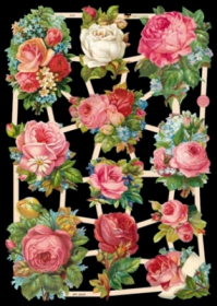 Glanzbilder mit Silber-Glimmer - 11 Motive mit Rosen.