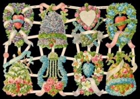 Glanzbilder mit Silber-Glimmer - 8 Motive mit Blumengestecken