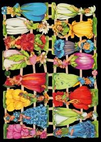 Glanzbilder mit Glimmer Blumenkinder
