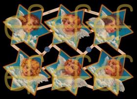 Glanzbilder mit Gold-Glimmer - 6 Sterne mit Engel