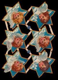 Glanzbilder mit Glimmer 6x Engel im Stern