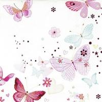 Servietten 25x25 cm - Lovely Butterflies