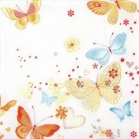 Servietten 25x25 cm - Lovely Butterflies yellow/orange