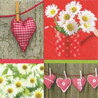Servietten 33x33 cm - Hearts and Daisies