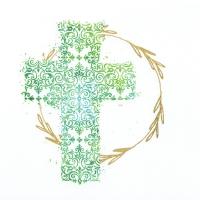 Servietten 33x33 cm - Kreuz grün