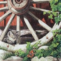 Servietten 33x33 cm - Katze auf einem alten Rad