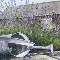 Servietten 33x33 cm - Katze und Lavendel