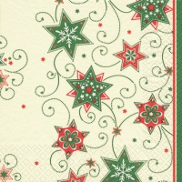 Servietten 25x25 cm - Stars & Swirls green