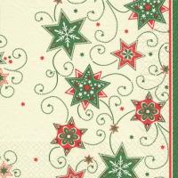 Servietten 25x25 cm - Stars & Swirls green