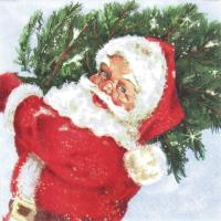 Servietten 25x25 cm - Santa with his Tree