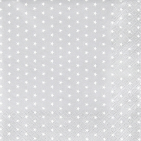Servietten 25x25 cm - Mini Stars silver