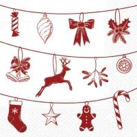 Servietten 25x25 cm - Weihnachtssymbole weiß/rot