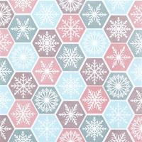 Servietten 25x25 cm - Snowflake Comb pastel