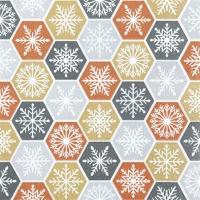 Servietten 25x25 cm - Schneeflocken-Kamm glamourös