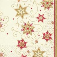 Servietten 33x33 cm - Stars & Swirls gold