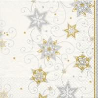 Servietten 33x33 cm - Sterne & Wirbel Silber