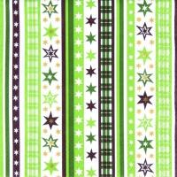 Servietten 33x33 cm - Streifen & Sterne grün