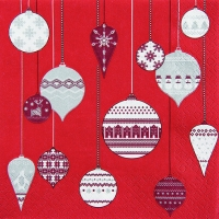Servietten 33x33 cm - Patterned Ornaments red